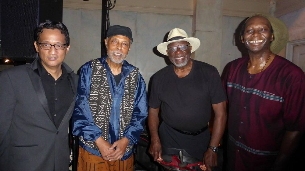 (l-r): myself, Hamiet Bluiett, Bob Stewart, Hamid Drake (photo by Joyce Jones).
