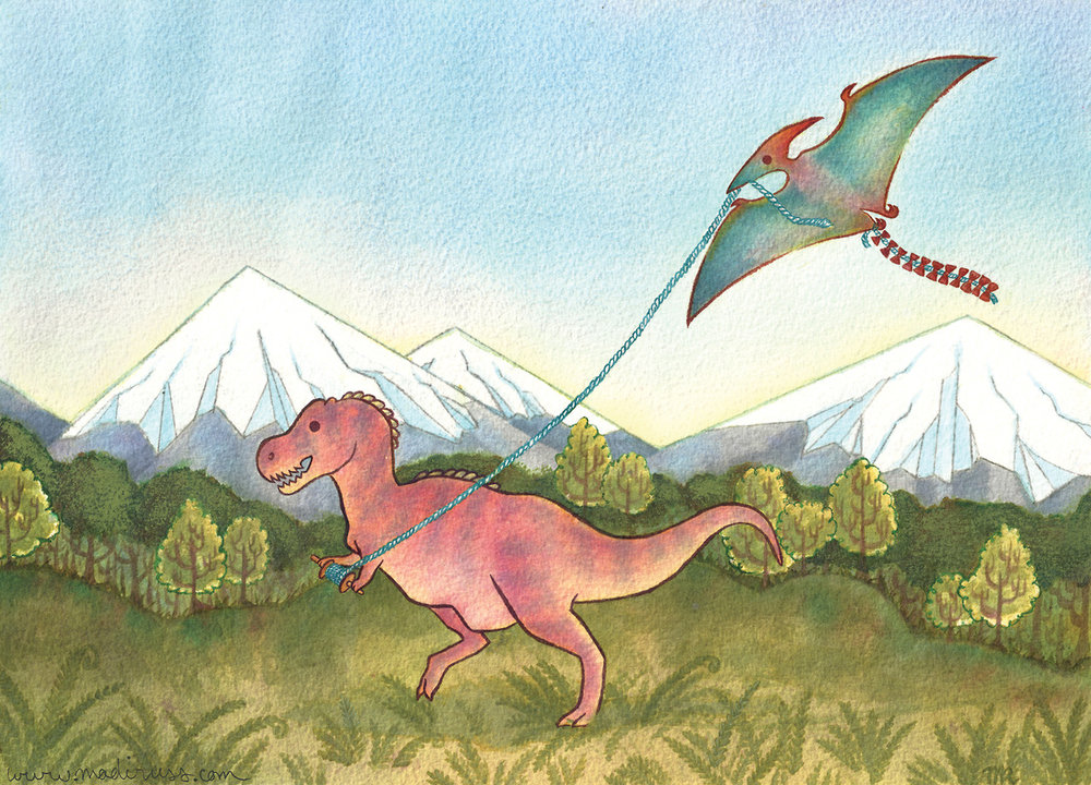 """Kite-odactyl""  Featuring Tyrannosaurus Rex and Pterodactyl  Noodler's Ink on Arches Watercolor 300lb Coldpress"