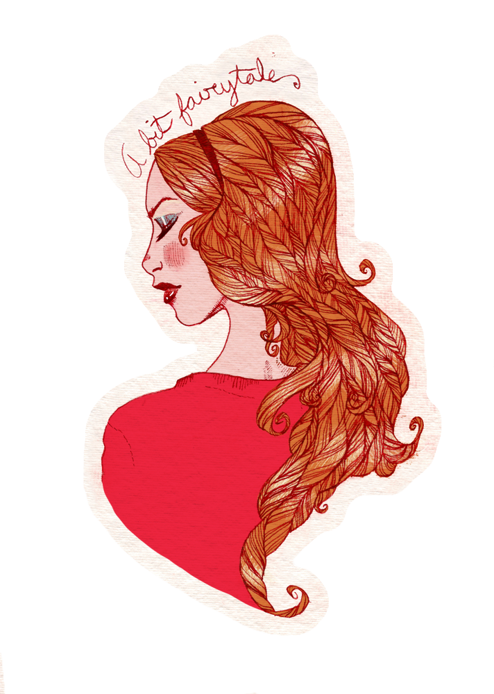 """A bit fairytale...""  Portrait of Amy Pond from Doctor Who  Noodler's Ink and Photoshop"