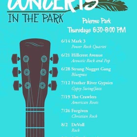 This coming Thursday at Palermo Park at 6:30!