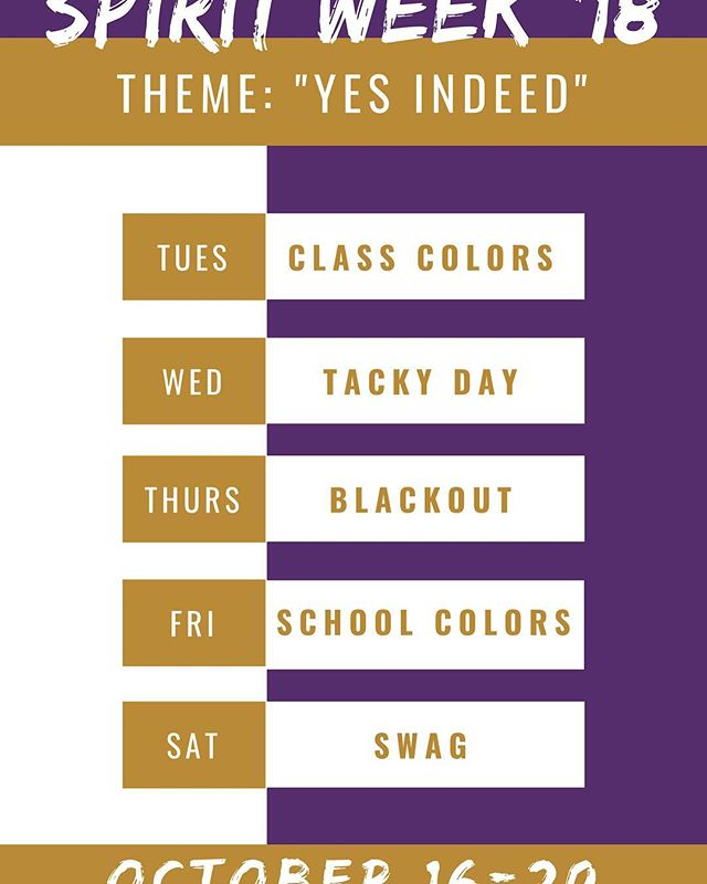 RBHS:  Its Homecoming week here at RBHS and this year we are kicking things off with a twist. Spirit week will start on Tuesday for our YKs and we would like everyone to join in on the fun.  We look forward to seeing you at the game on Friday!!! We are All In