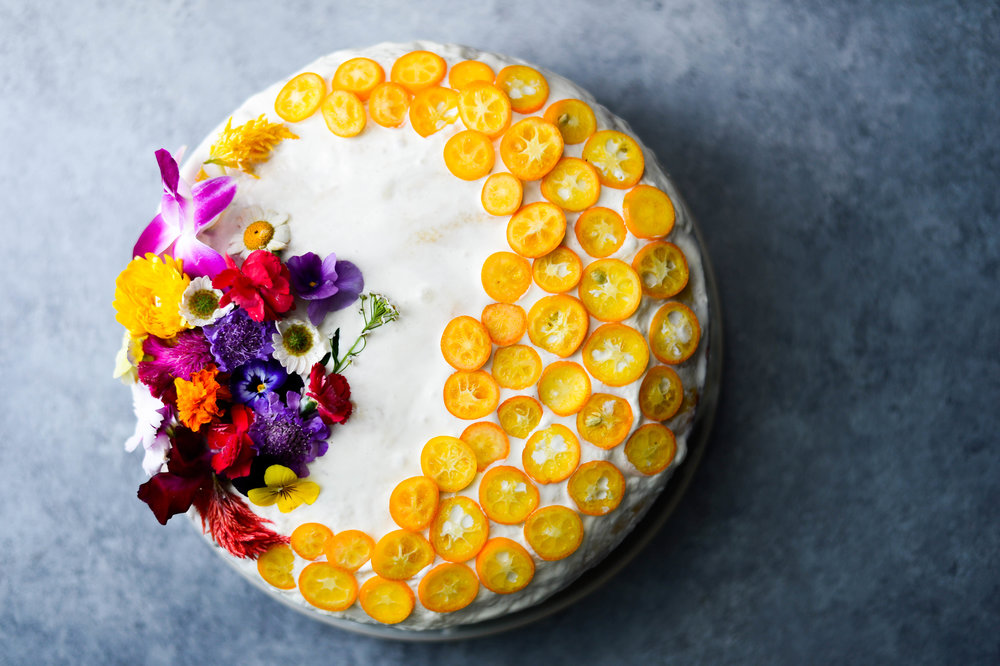 Cardamom tres leches cake with kumquats