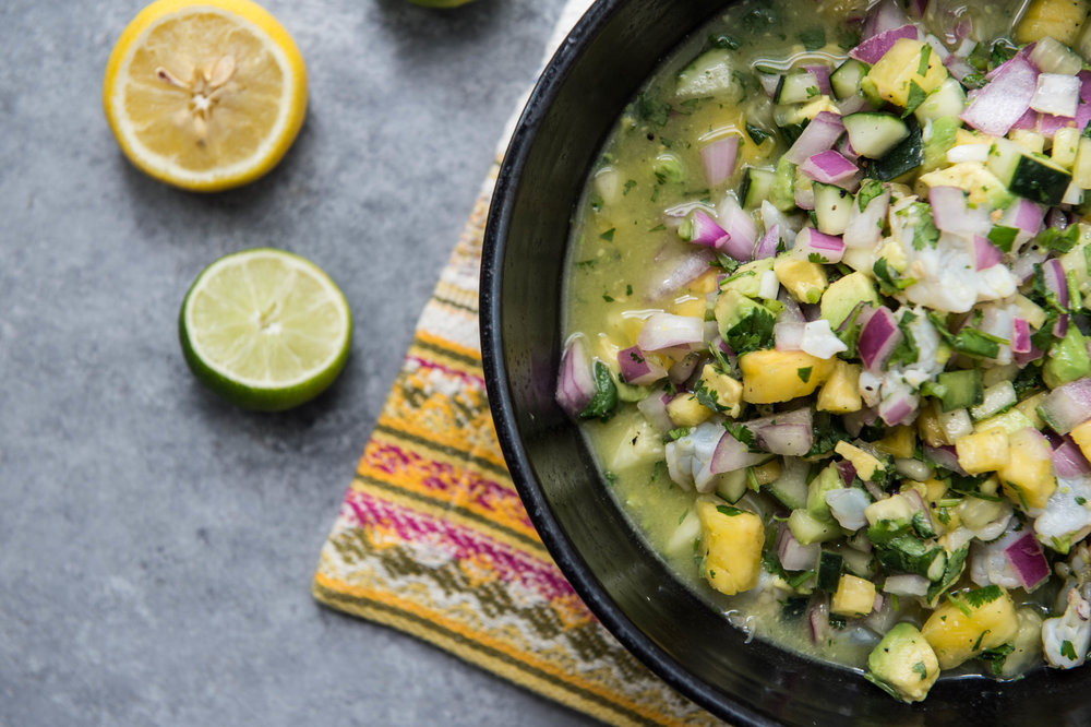 Simple shrimp, pineapple and avocado ceviche