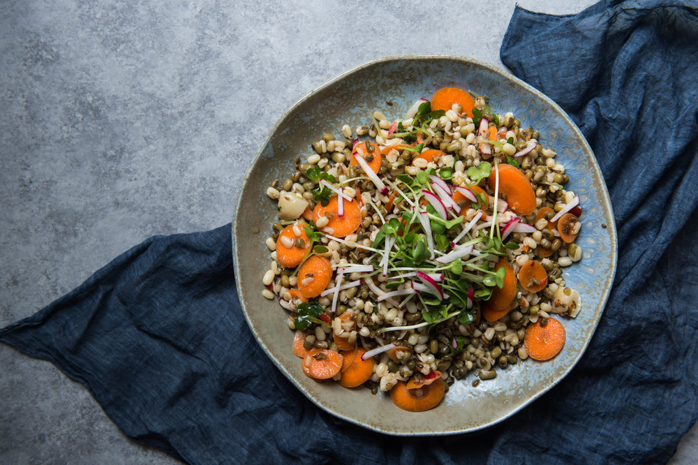 Mung bean, carrot and radish salad bowl