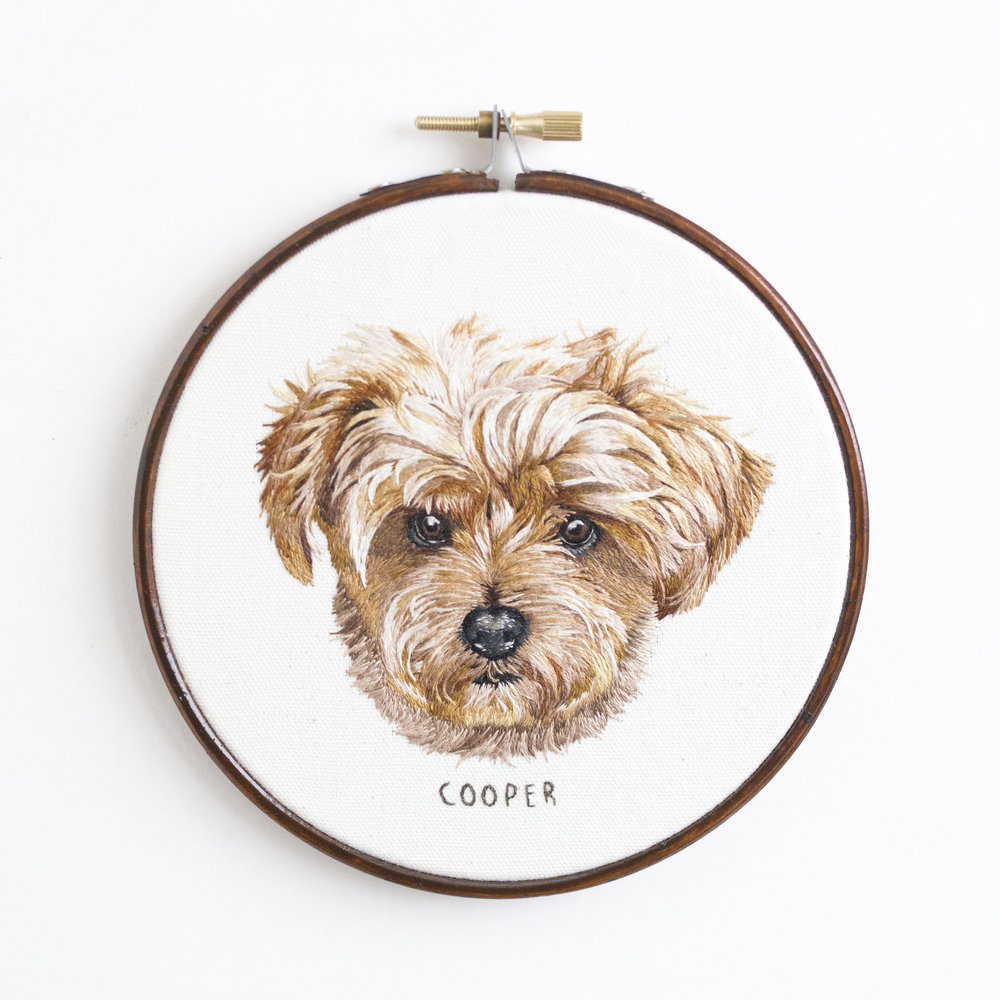 Hand embroidered custom pet portrait