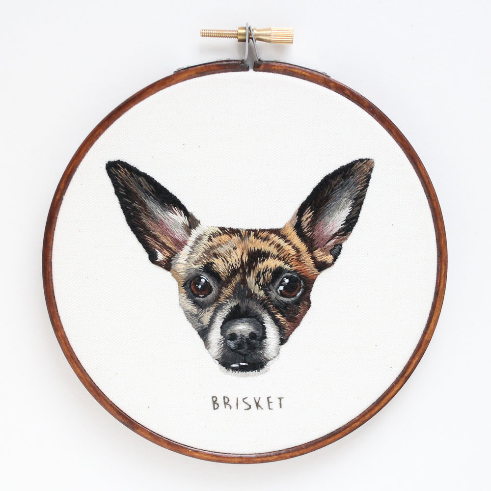 Hand embroidered custom pet portrait by emillie ferris