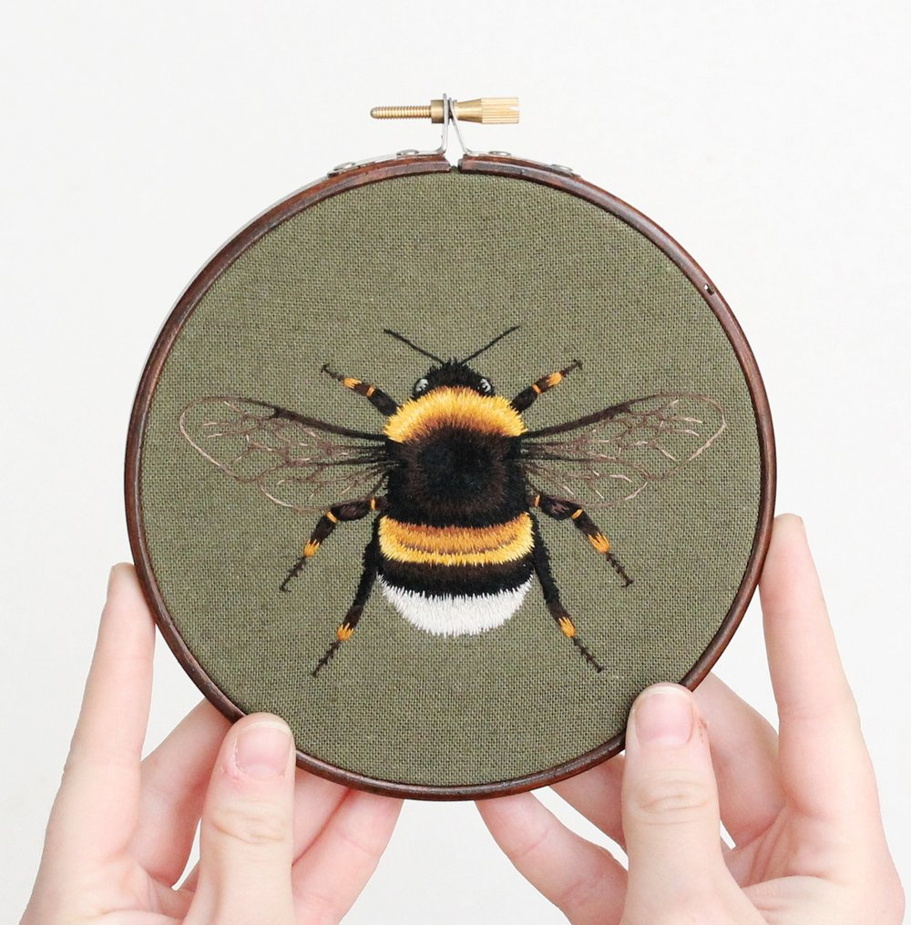 Hand embroidered bumblebee by emillie ferris