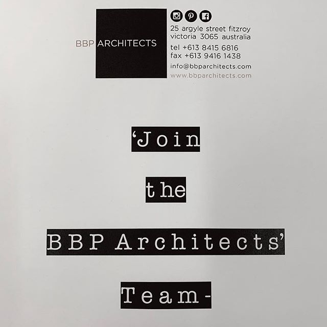 """BBP Architects are seeking an experienced graduate/architect to join our team. The ideal candidate should show experience in design development/documentation of both commercial and residential projects as well as demonstrate ability to problem solve, attention to detail, be a team player and generally enjoy architectural practice. A minimum of 5 years experience is preferred. Please forward a one page summary of your capabilities/ experience along with a one page synopsis of your employment experience. Applications close 14th of December. Please forward all information to info@bbparchitects.com """