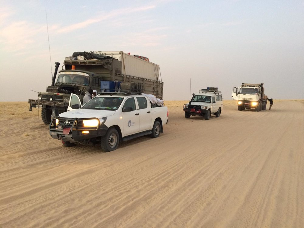 GCS convoy with accompanying vehicles from Humanity & Inclusion