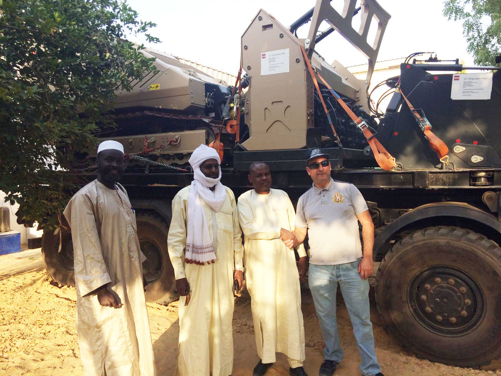 The Director of Mine Action Chad and his team meet GCS' Global Technician Chris Thompson