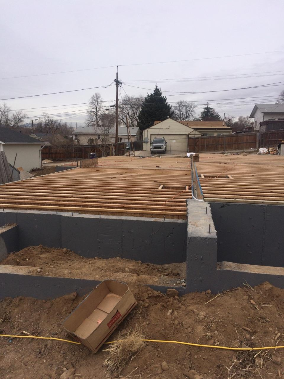 The ground floor framing for 1220 Perry is being constructed.
