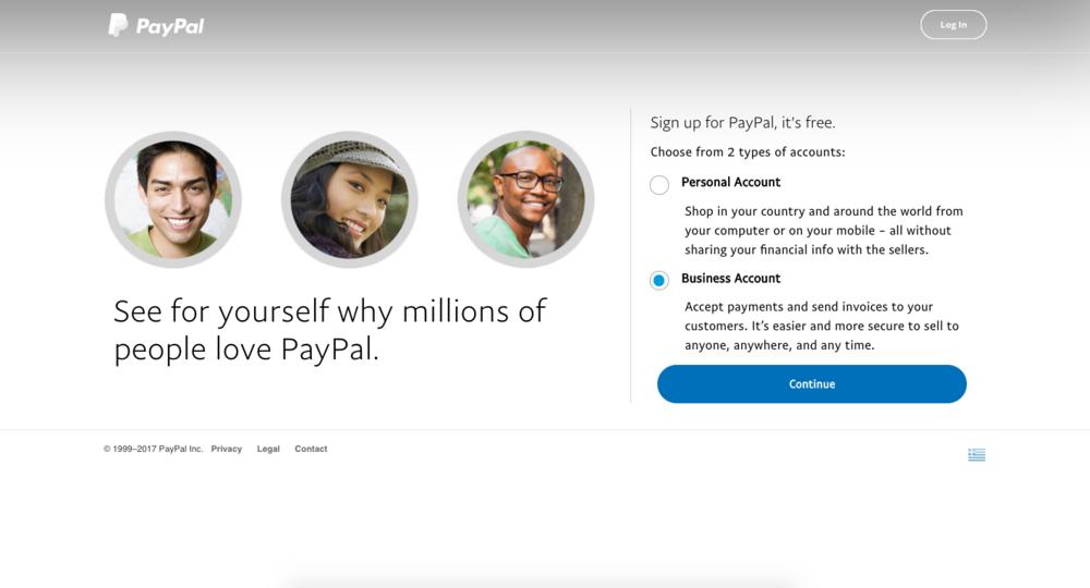 """Δημιουργήστε ένα"""" Business Account """" όπως φαίνεται στην φωτογραφία."""