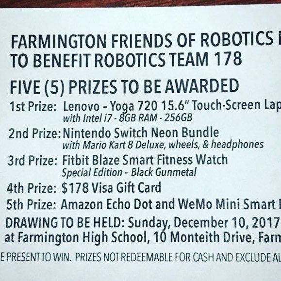 Raffle!!! #fundraising #omgrobots #first @team178
