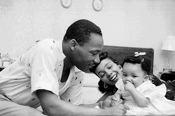 Martin Luther King with wife Coretta Scott King and daughter Yolanda King.