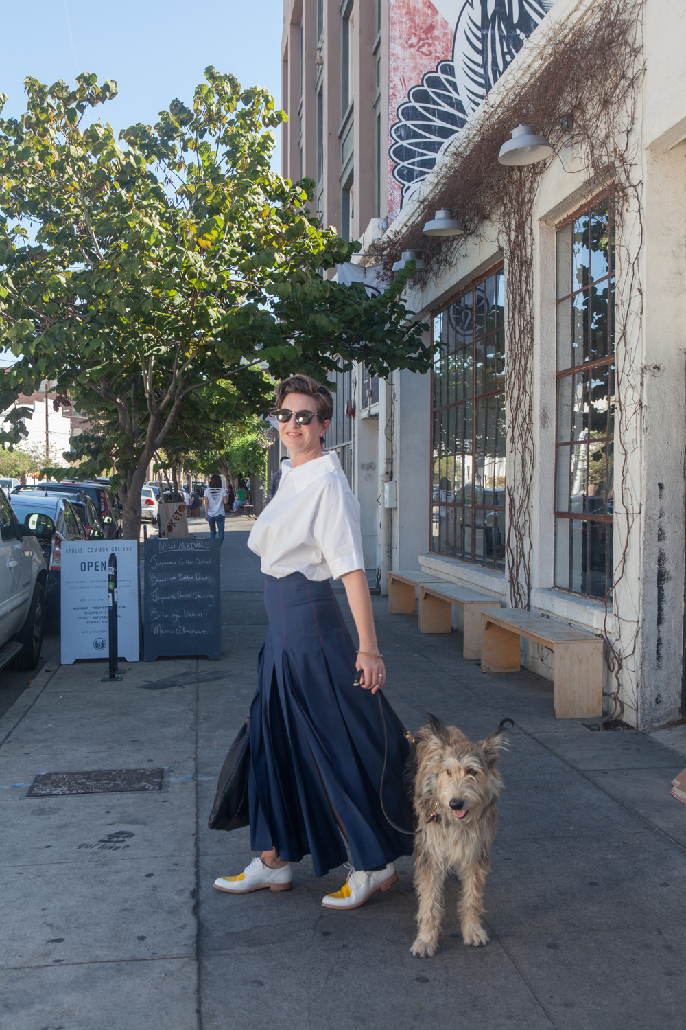 White Collar Shirt street shot - Emily Pringle O'Keeffe wearing the shirt in Los Angeles while walking her dog.