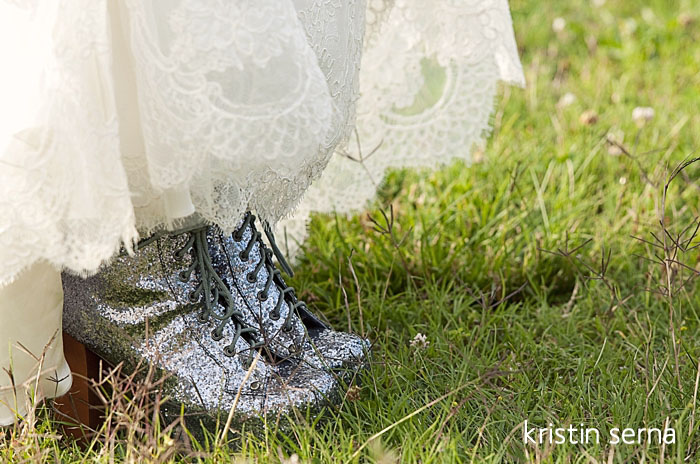 Sparkly Wedding Boots | Wedding Photography by Kristin Serna