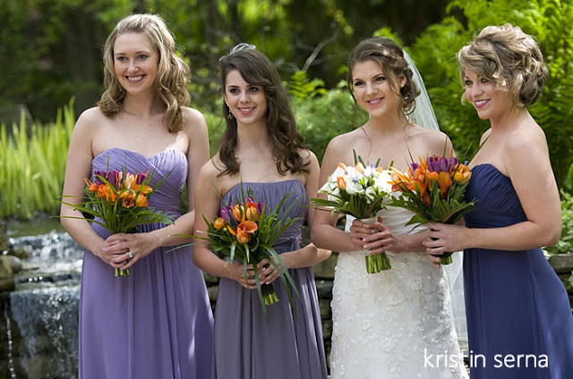 Bridesmaid Dresses in Different Shades of Color | Wedding Photography by Kristin Serna