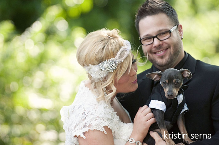 Pre-Ceremony Wedding Photos with a Dog by Kristin Serna