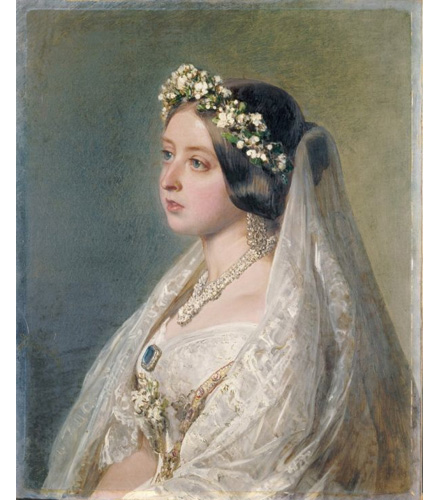 Queen Victoria, in her 1840 wedding dress and veil, painted in 1847 by Franz Xaver Winterhalter as an anniversary gift for her husband, Prince Albert.