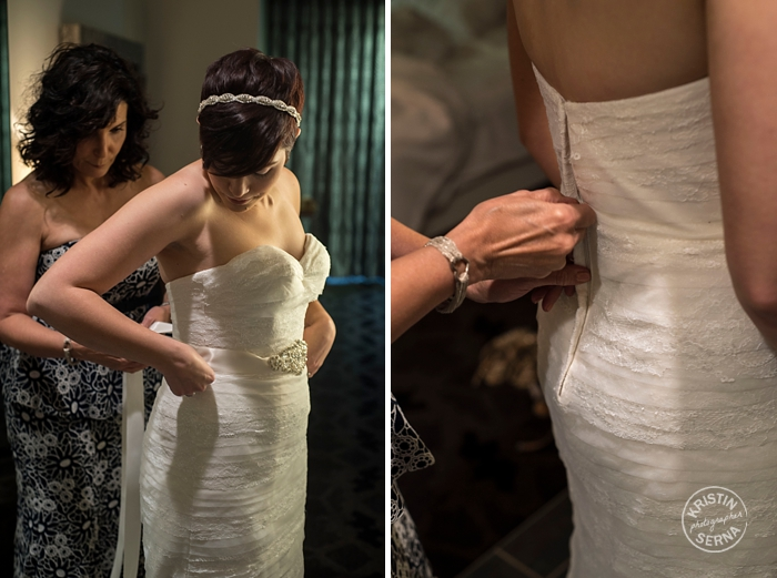 Zipping up the Wedding Dress. Photography by Kristin Serna