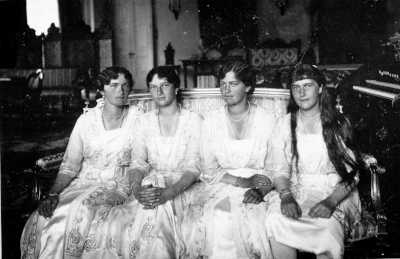 Olga, Tatiana, Maria and Anastasia Romanov. From here.