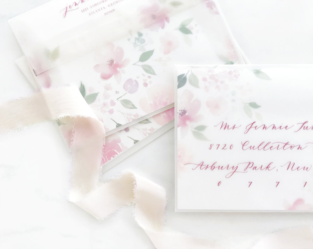 Watercolor Floral Vellum Envelopes