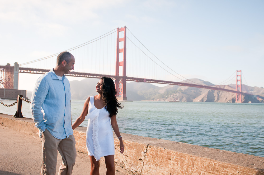 Couple at Crissy Field with Golden Gate Bridge