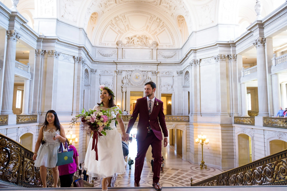 Bride smiling San Francisco City Hall wedding photography