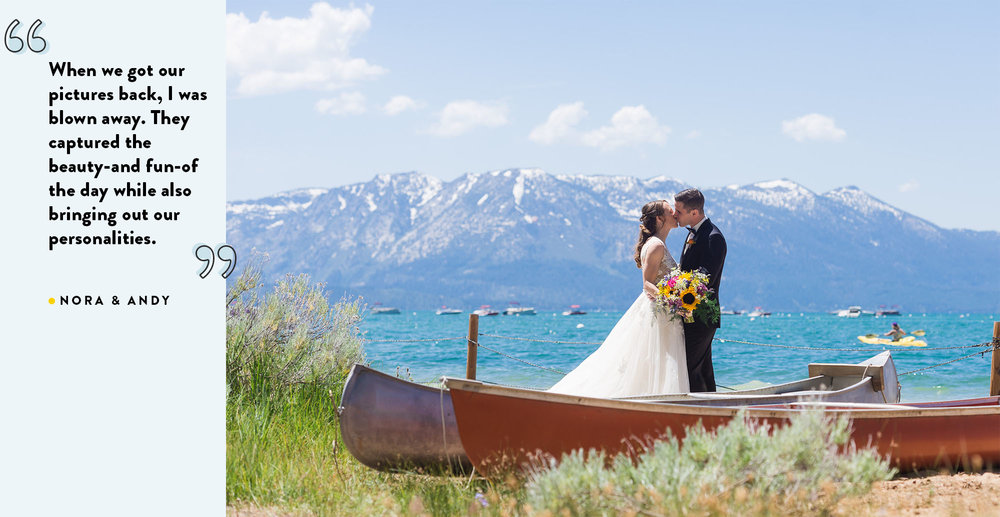 Couple kissing on their wedding day at Lake Tahoe