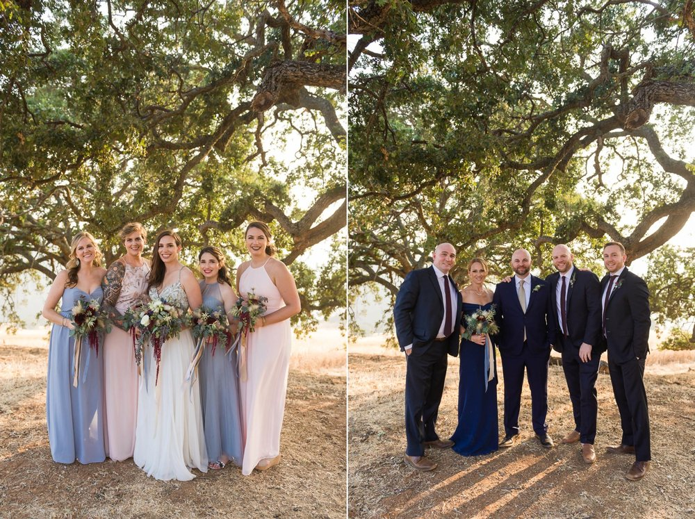 Bride with bridesmaid and groom with groomsmen