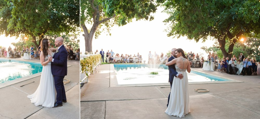 Bride and groom's first dance near pool