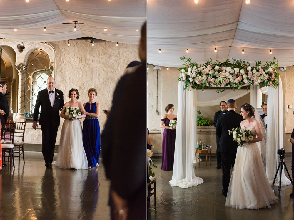 Bride being walked down the aisle by her mother and father