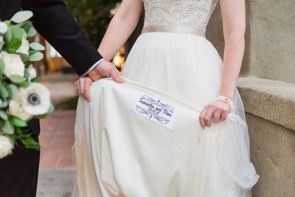 Bride's dress with names embroidered in the inseam