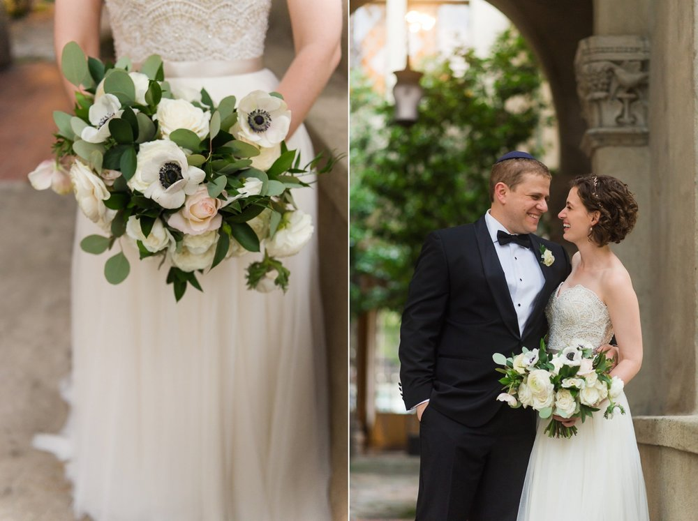 Bride and groom and bridal bouquet with white poppies