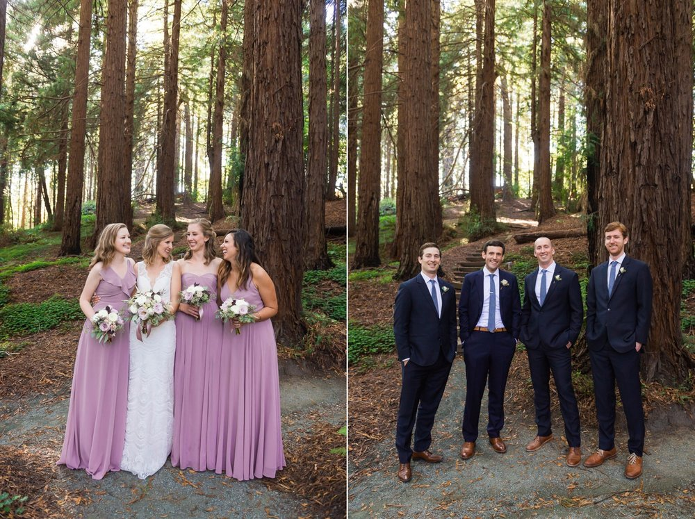 Bridal party in the woods