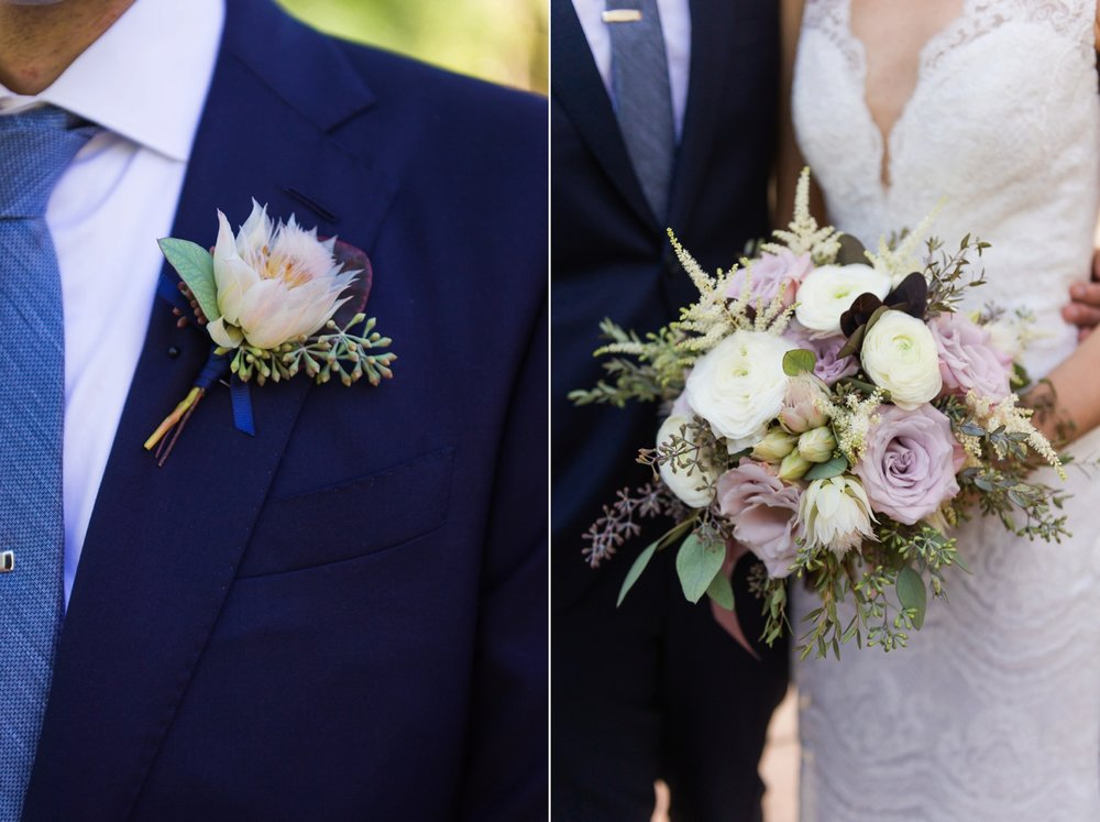 Groom's boutonniere and bride's bouquet