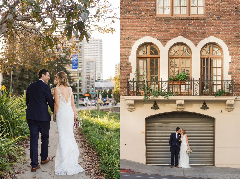 Bride and groom in front of historic Oakland building