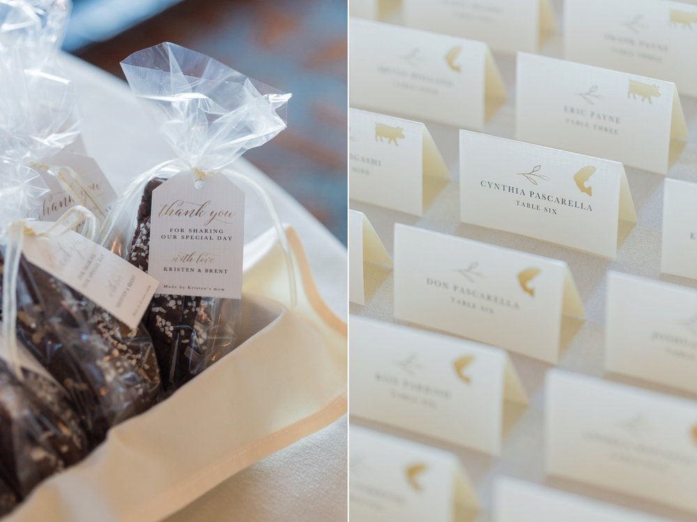 Wedding reception chocolate favors and escort cards