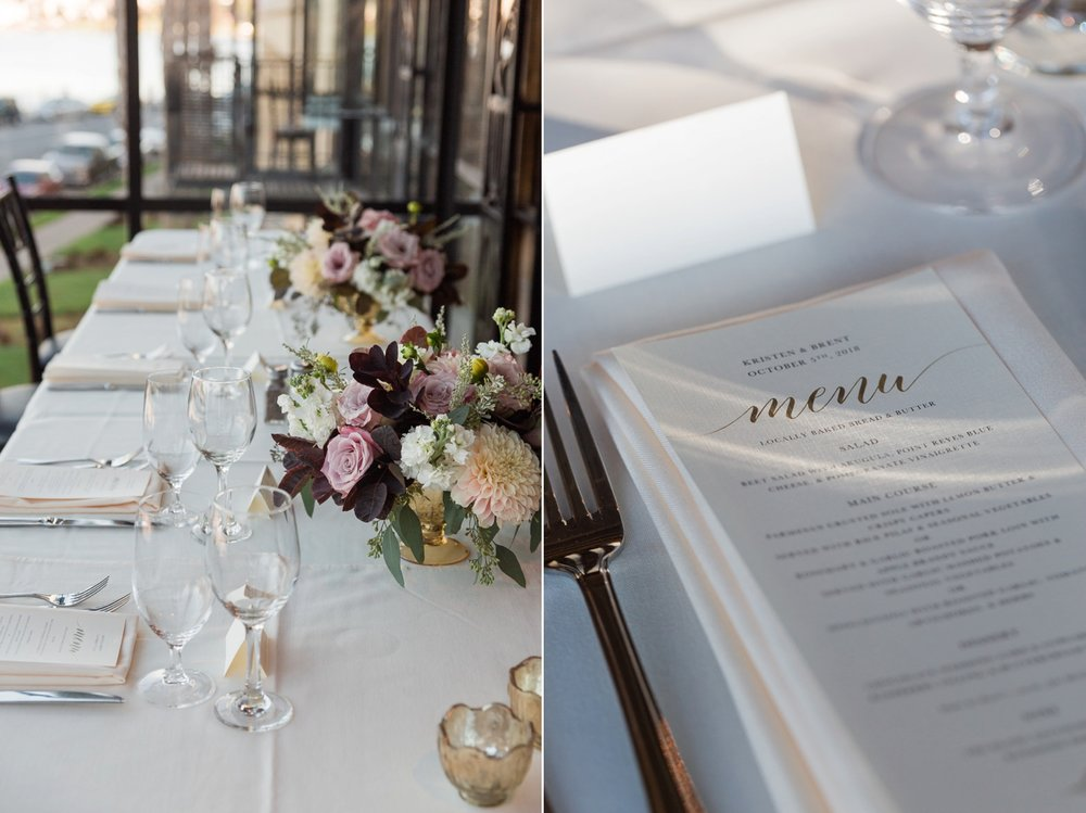 Wedding florals and menu stationery