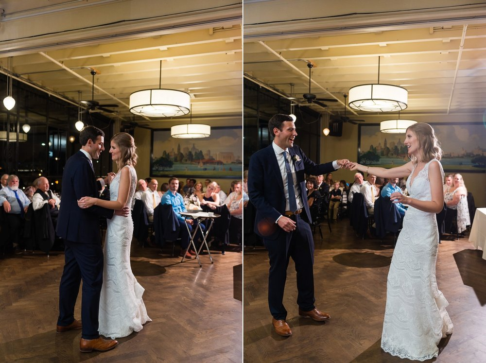 Bride and groom's first dance in historic building