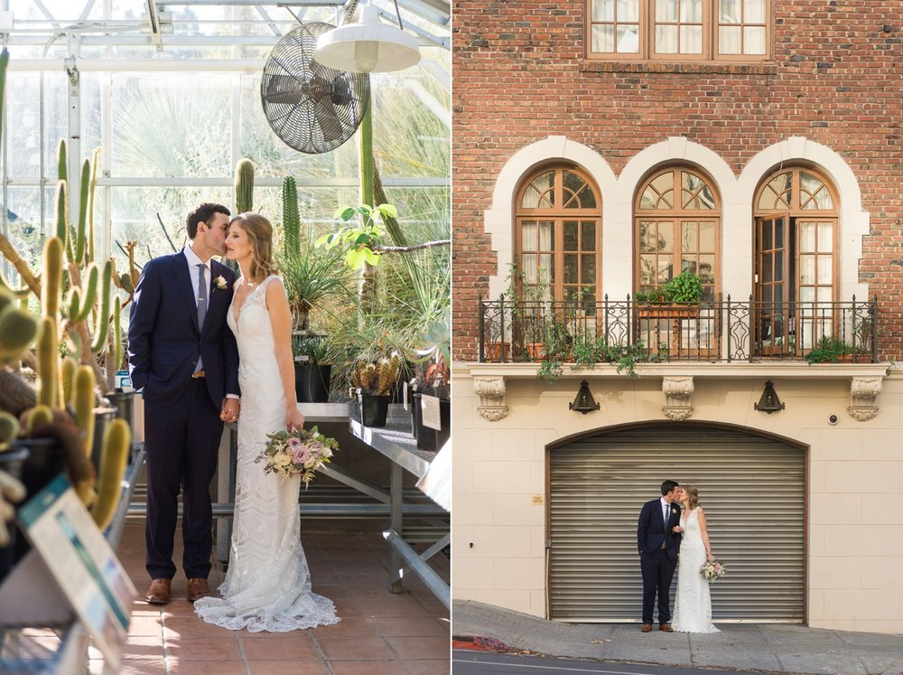 Bride and groom in greenhouse with cactus