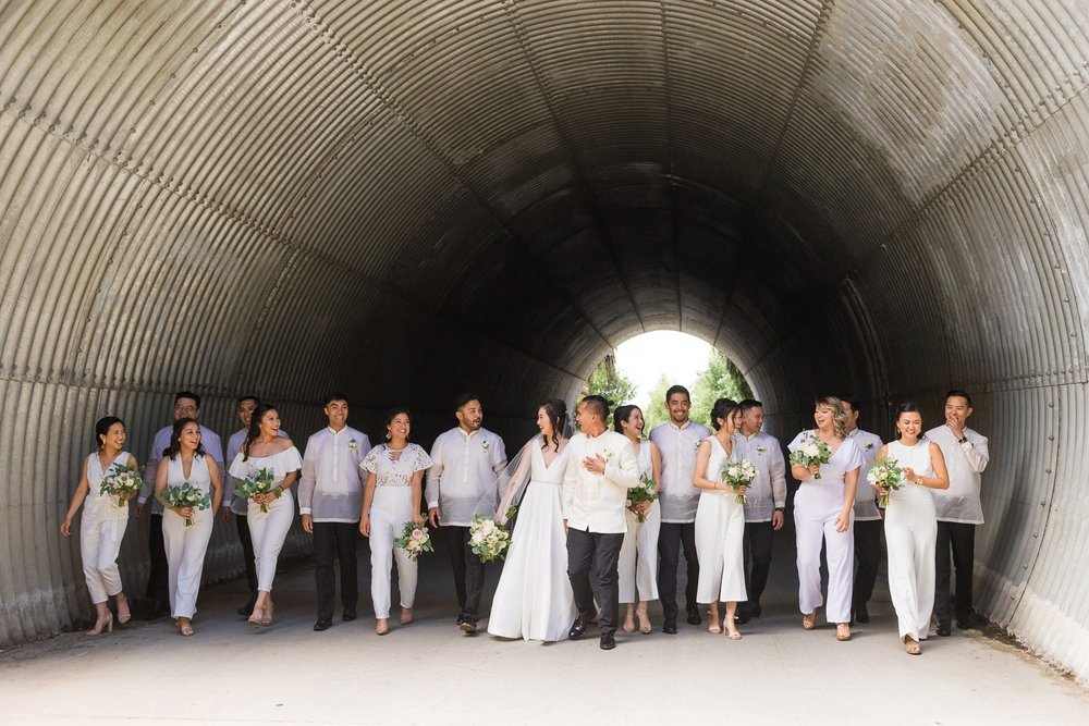 Wedding party wearing all white