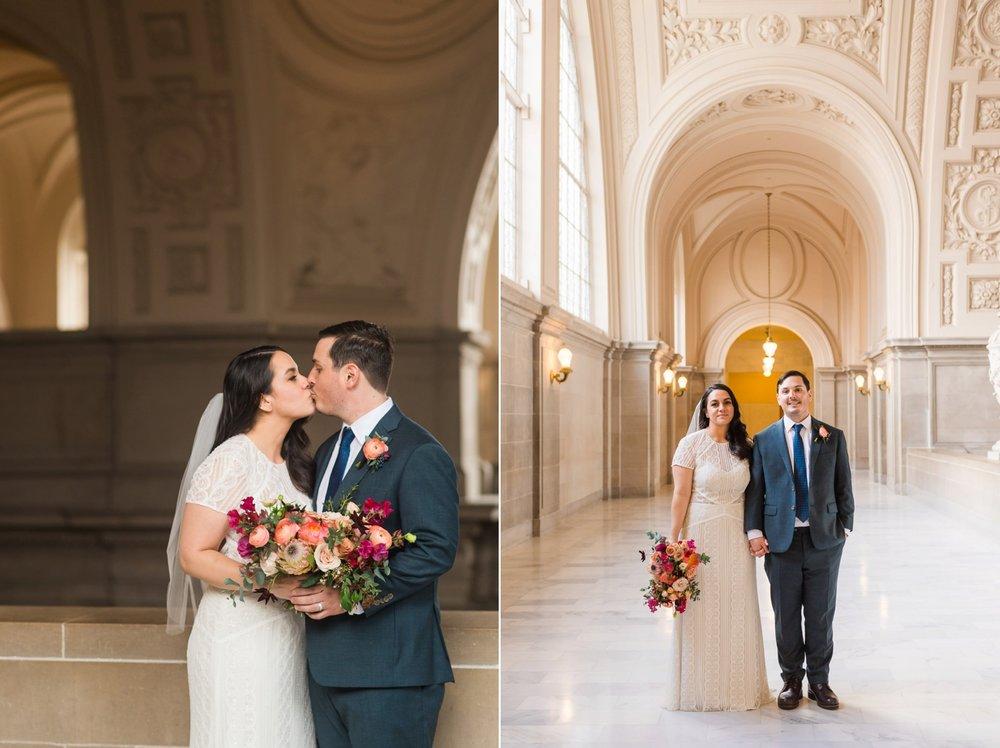 Bride and groom kissing at SF City Hall