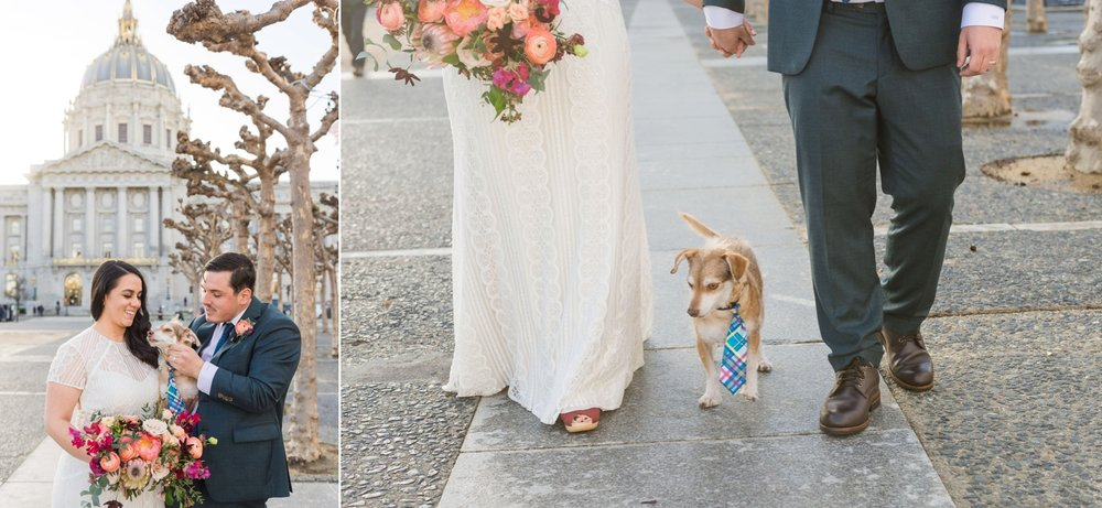 Bride and groom with a dog wearing a tie