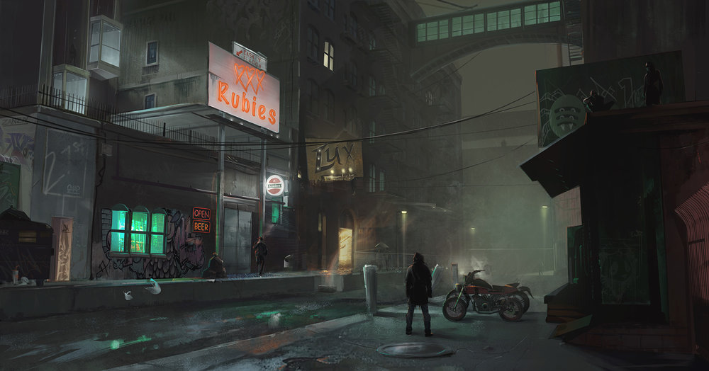 Final digital production painting for neo-noir environment concept.
