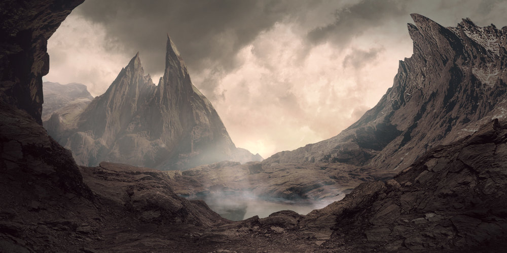 Final Matte Painting with concept art phase below.