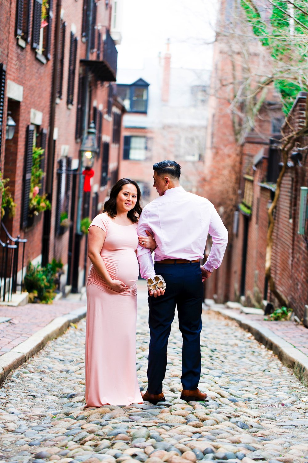 8C2A2552 Giovanni The Photographer Boston Marternity Photography Maryann and Steven - Beacon Hill - Acorn Street Cobblestone St 03-04-18 WM35.jpg