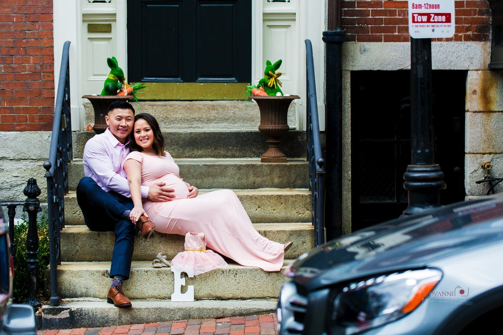 8C2A2569 Giovanni The Photographer Boston Marternity Photography Maryann and Steven - Beacon Hill - Acorn Street Cobblestone St 03-04-18 WM35.jpg