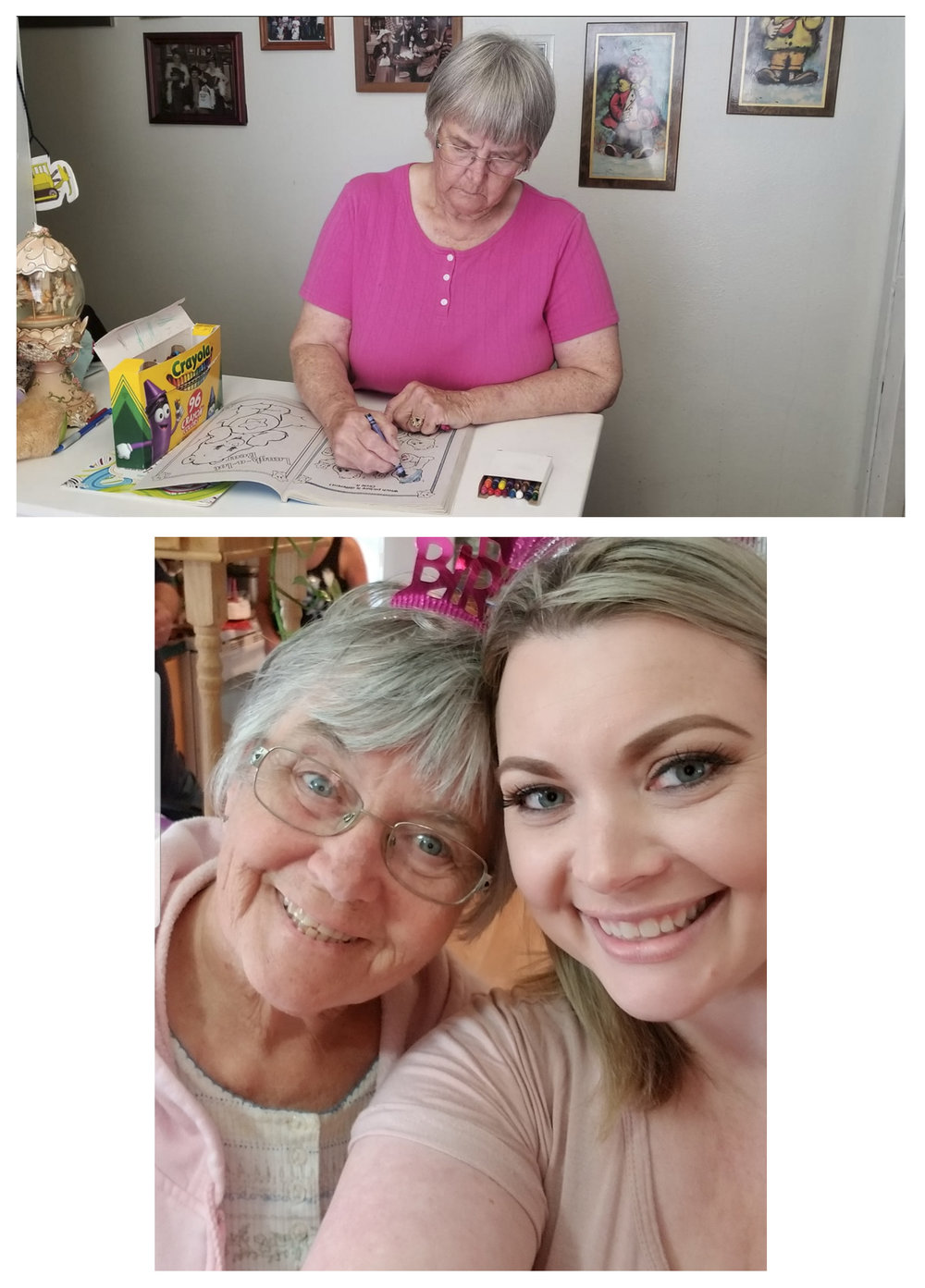 Melynda Downard + Donna (Mother) - Corvallis, OregonMy name is Mindy (Melynda) Downard, I am 38yrs old. My mother, Donna was diagnosed with Alzheimer's around 3 yrs ago. Shes 75. We live together and I am her caregiver. I also have a 9yr old son who i have part time and a 2yr old daughter who I have full time. I'm a single mom. I believe that falls into the sandwich category you had listed. On top of those things I run a small business. It's a salon here in Corvallis. My life is crazy and it's hard to hold it together. Even harder because I'm navigating all of this alone. I get help from one of my nieces and my oldest sister is paying monthly for that. No respite care, no time off. I'm either at work, or I'm home with my family.My mother was diagnosed with Alzheimer's appx 3 years ago. She spends a majority of her time coloring these days. My mom was a woman who ran her own cleaning business and worked hard all her life. She raised the last three of her children completely by herself. She was selfless and brave and never gave up on any of us through our countless trials. Marriages, divorces, trouble with the law, addictions, children, she remained a consistent source of support and unconditional love to us. She was everything that anyone could ask for in a mom She came to me yesterday and told me someone had suggested maybe she could sell some of the things she colors because shes so good at it. I honestly do not know if the suggestion was real or imagined lol but it doesnt matter and with the help of some friends we came up with the idea to create a page where she could display her work. This site will be a work in progress as ideas come to me. It was created to help my mom still feel useful as her Alzheimer's progresses. Itll be interesting to see how her artwork changes over time as well. Please feel free to leave me any suggestions you might have or any thoughts I can share with my mom as well. I will be admin of the page as she isnt capable of running it herself. My name is Mindy. My moms name is Donna. Welcome to Alzheimer's speaks through CrayonsLet's see... as moms condition progresses she spends most of her time coloring as I mentioned on the phone with you. But I dont ever really leave her home alone so we do mostly everything together. On Thursdays and Fridays she even comes to work with me. She sweeps up after haircuts and folds towels while shes there at the salon. She cleaned houses for a living and really likes to try to keep the house work up at home as well. We've been doing gardening together this year. Bought and planted a lot of flowers. She likes to clean up outside when the weather is nice. We have 3 dogs, 2 of which are very partial to mom and she loves them. They sleep with her at night. We took my kids to the Enchanted Forest just recently. It's a yearly thing for us to go. When I go to visit friends, mom comes along. Group activities, such as 3rd of July fireworks in Newport, we brought mom. Shes a big part of everything. All my friends and clients at the shop love her. Before she was diagnosed with Alzheimer's, shopping was always a favorite thing we did and we still try to as much as possible, though she hardly ever wants anything lol. My mom was always my best friend and we've been extremely close my whole life. That part hasn't changed even though the disease is taking her away. I called her