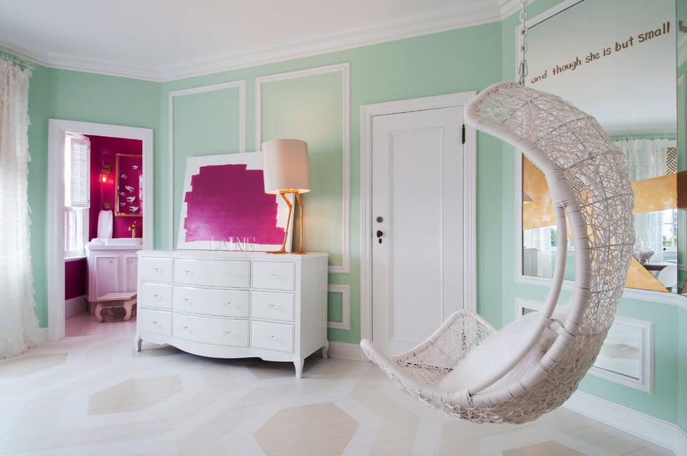 Hanging Chair in Girl's Bedroom